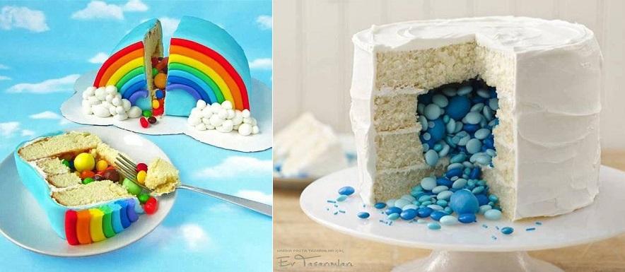 pinata cake rainbow surprise inside left and right via Ev Tasarimlari, Turkey