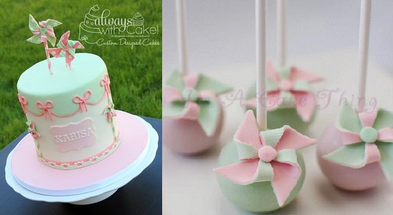 pinwheel cake by Always With Cake left and pinwheel cake pops by It's A Cake Thing right