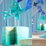pinwheel cake ombre cake in teal by Butter Hearts Sugar photo by Enchanted Empire