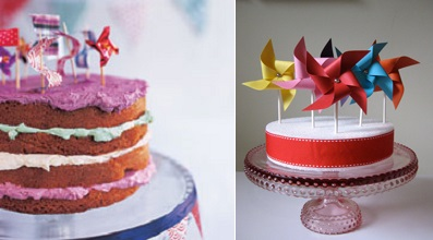 pinwheel cake toppers via Gala Cake left and via Juxtapost right
