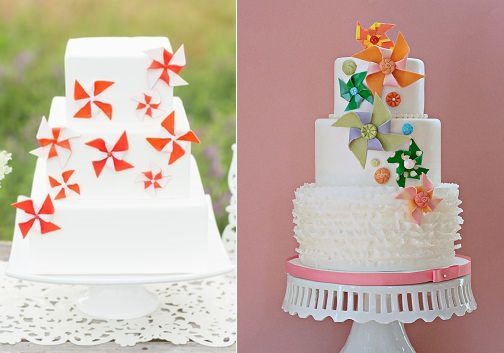 pinwheel cakes by Just Crumbs with image by Erin Lindsey left and cake by The Couture Cakery.