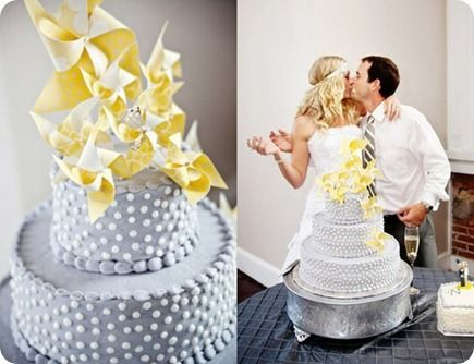 pinwheel wedding cake lemon and grey by Krista Lynn photography via Pinterest