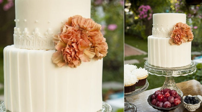 pleated wedding cake design by The Graceful Baker, by Jessicas Photos.com via Style Me Pretty