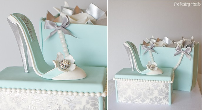 shoe and shoebox cake mint stiletto by The Pastry Studio
