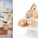 shoe box cake by Cake Gems left and Louboutin platform shoe stiletto cake by La Cupella right