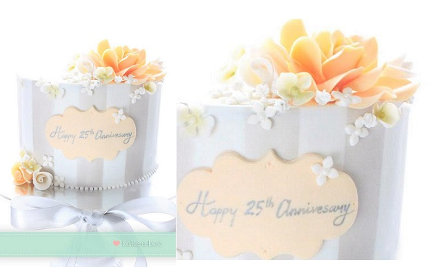 silver anniversary cake 25th wedding anniversary cake by Bake-A-Bake Cakes Design, New Zealand