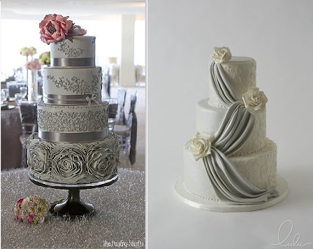 silver anniversary cake ideas from The Pastry Studio left and Lulu Cake Boutique right
