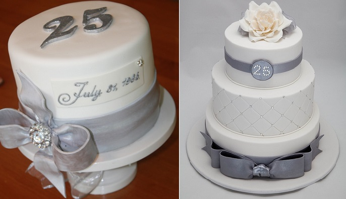 silver anniversary cakes 25th wedding anniversary cakes via The Good Apple left and by Rouvelee's Creations right