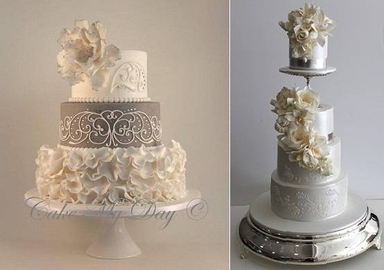 silver wedding anniversary cake ideas from Cake My Day left and by Faye Cahill right
