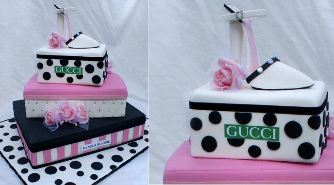 stiletto shoes and bag cake black and pink by Verusca Walker