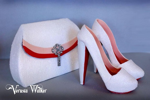 stiletto shoes and handbag cake white by Verusca Walker