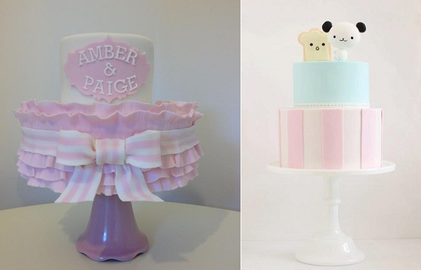 striped bow cake by Cheryl's cake Boutique left and Hello Naomi right