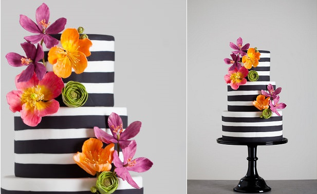 striped cake design black and white stripes contemporary wedding cake by Wild Orchid Baking Company