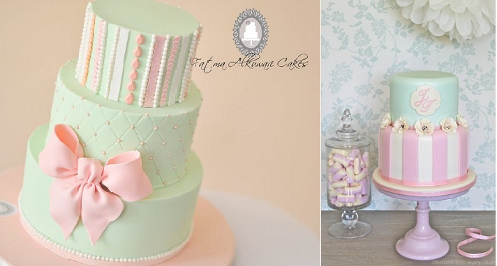 striped cakes candy stripes by Fatima Alkuwari Cakes left and Little Boutique Bakery UK right