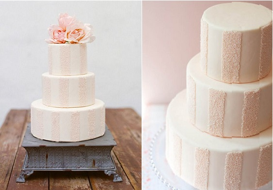 striped wedding cake design by Erica O'Brien via Project Wedding