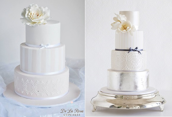 striped wedding cake designs by De La Rosa Cupcakes left and Faye Cahill right