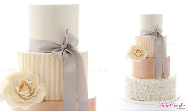 striped wedding cake peach and grey by Bella Cupcakes