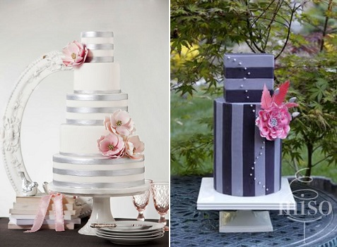 striped wedding cakes contemporary designs by Bobbette and Belle left and Miso Bakes right