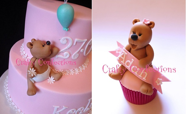 teddy christening cake for a girl and teddy cupcake by Crafty Confections