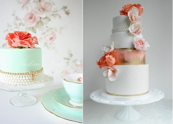 vintage pearl beaded wedding cakes by Nadine's Cakes left and The Cake Whisperer right