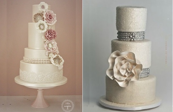 pearl wedding cakes vintage style by Cotton & Crumbs left and Sugar Couture
