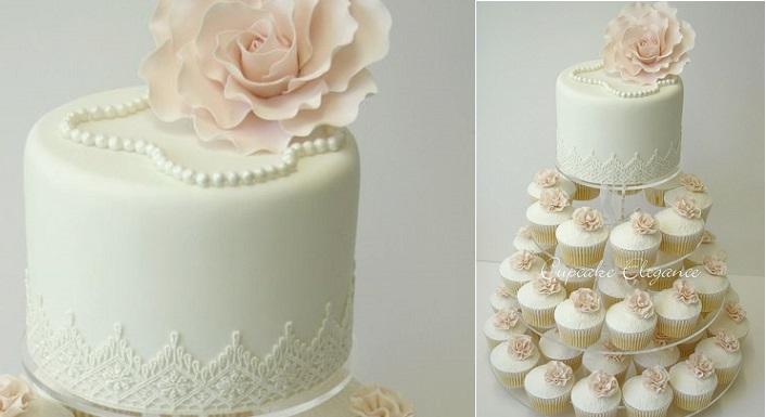 vintage pearl wedding cupcakes by Cupcake Elegance