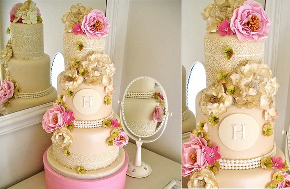 Vintage Pearls And Lace Wedding Cake By Nice Icing