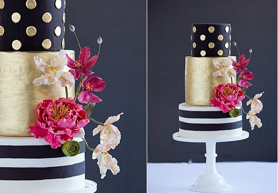 wedding cake with stripes and polka dots black and gold by The Wild Orchid Cake Company