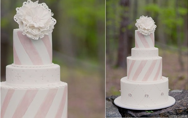 wedding cake with stripes pastel pink by Lovely Cakes via The Cake Blog