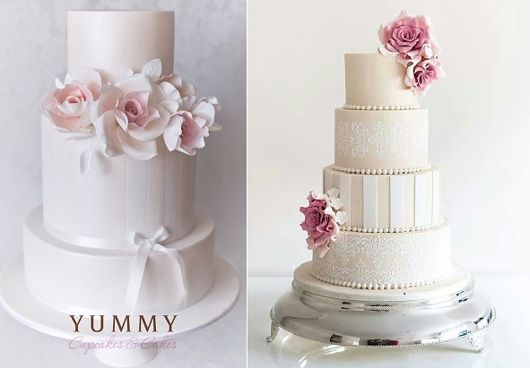 wedding cakes with stripes by Yummy Cupcakes and Cakes left and via Pinterest right