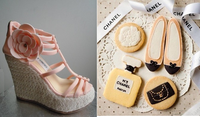 wedge heel shoe edible from We Love Yan's Cakes UK left and Chanel pumps cookies via Edible Shoes and Bags right