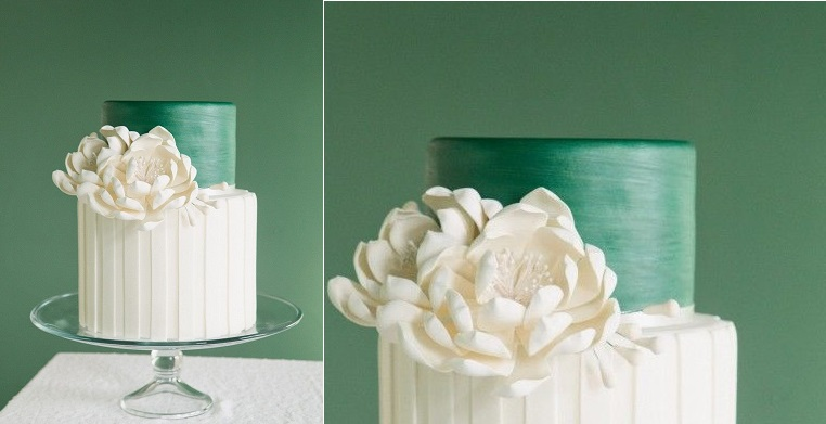 white striped wedding cake with jade green tier by The Graceful Baker