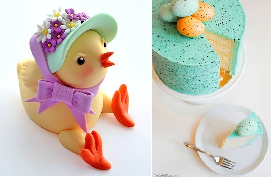 Easter chick tutorial by Rhu Strand, Pimp My Cake UK left and speckled easter cake right via The Cake Blog