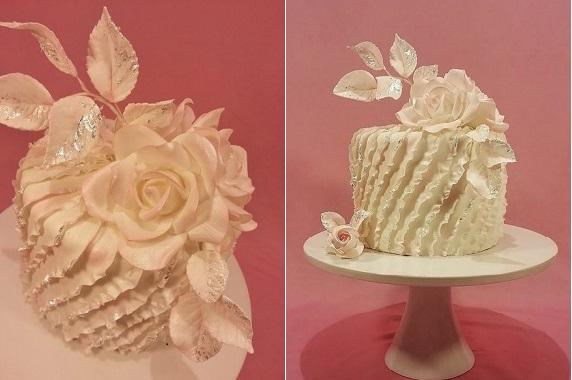 asymmetrical fondant frills cake design by J Winslow via Cakes Decor