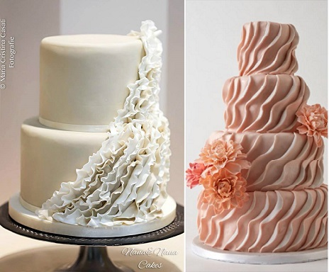 asymmetrical fondant frills cakes by Nana e Nana Cakes Italy left image by Maria Cristina Casati and Lulu Cake Boutique right