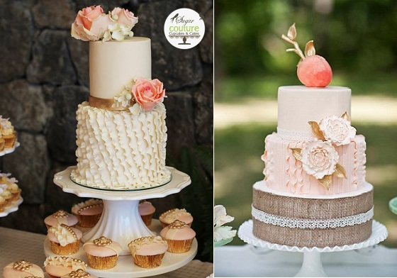 asymmetrical fondant frills wedding cake by Sugar Couture CR left and vertical fondant frills peach cake by Amy Cakes, BRC Photography right