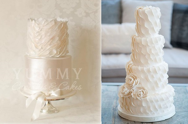 asymmetrical fondant frills wedding cakes by Yummy Cupcakes and Cakes left and Bobbette and Belle right