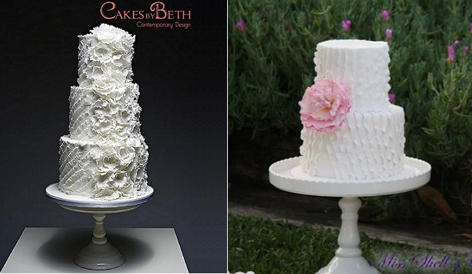 asymmetrical frills wedding cake design by Cakes By Beth UK left and Miss Shell's Cakes, Australia right