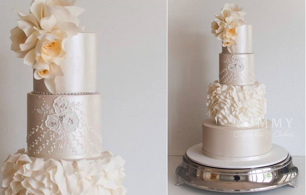 asymmetrical ruffles wedding cake design by Yummy Cupcakes and Cakes, Sydney