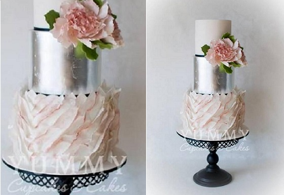 asymmetrical ruffles wedding cake silver leaf by Yummy Cupcakes and Cakes, Australia