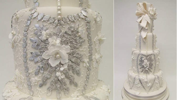 beaded cake design edible pearls and sequins by Emma Jayne Cake Design