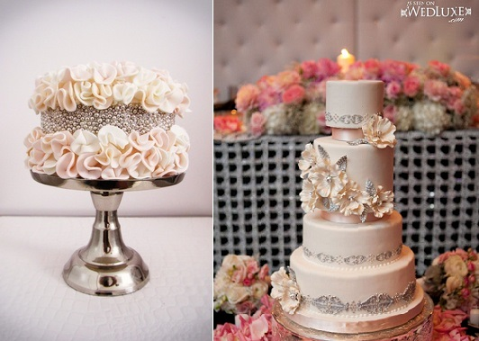 beaded cake designs silver beading by Connie Cupcake Luxury Cakes left and Bobbette and Belle via Wed Luxe right