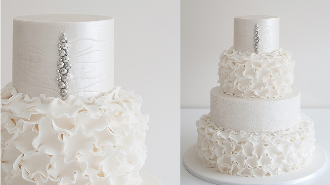 beaded wedding cake design, silver beading petal ruffles by Coco Cakes AU