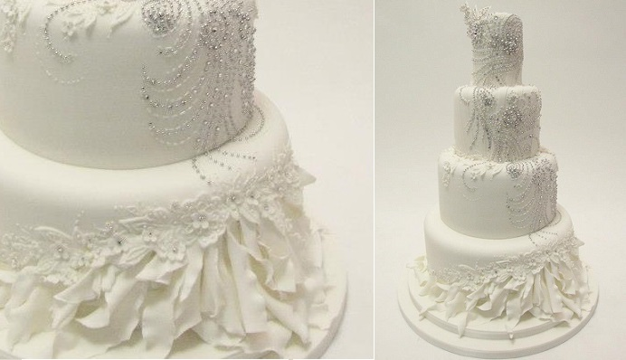 beaded wedding cake design with feather detailing by Emma Jayne Cake Design