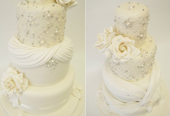 beaded wedding cake fabric effect by Emma Jayne Cake Design