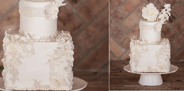 beaded wedding cake pearl beading by Maggie Austin, Millie B Photography via Wedding Chicks