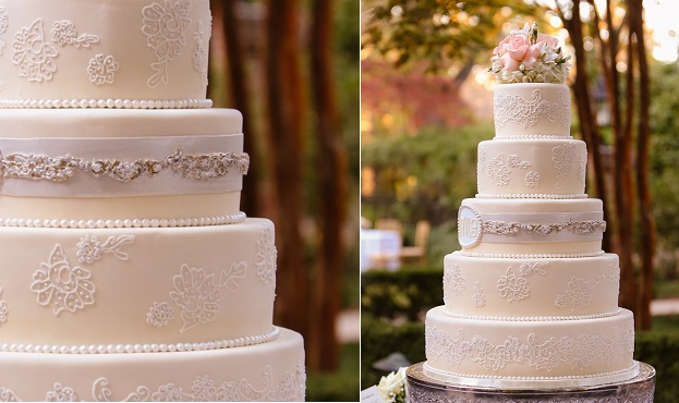 beaded wedding cake pearl wedding cake, Moore Photography via Cherry Blossoms and Faerie Wings