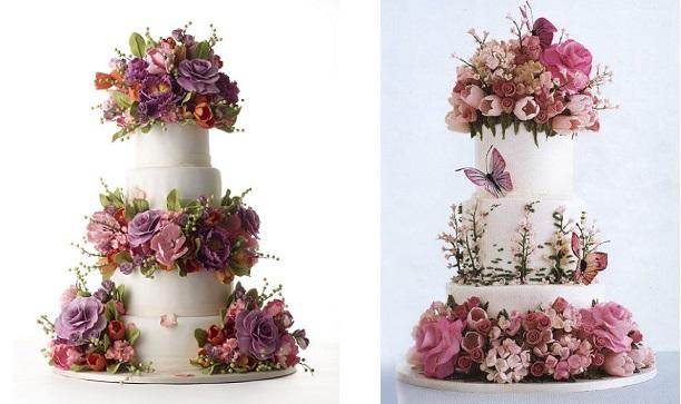 botanical style wedding cakes by Sylvia Weinstock