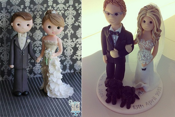 bride and groom cake topper by Sugar High left and by Feats of Clay UK right