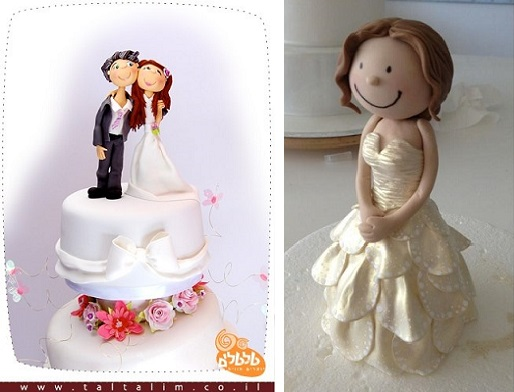 bride and groom cake topper by Tal Tsafrir left and bride cake topper by Sharon Wee Creations right